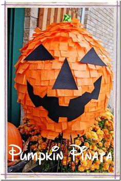 Make a Pumpkin Pinata! From ChaosServedDaily.com - idea -- use sticky notes, black construction paper, and styrofoam ball to make pumpkins.