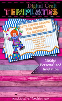 Personalized Printable Invitations | Circus Party | Blue Clown | Birthday Party |  #69