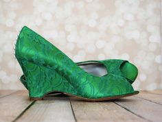 Wedding Shoes -- Emerald Green Peep Toe Wedges with Lace Overlay and Pearl Buttons on the Back of Shoe