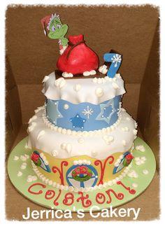 Grinch birthday cake Grinch Cake, Grinch Party, Birthday Ideas, Birthday Cake, Marshmallow Fondant, Homemade Marshmallows, Grinch Stole Christmas, Christmas Birthday, How To Make Cake
