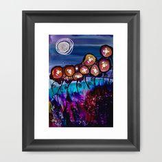 Moon Flowers Framed Art Print
