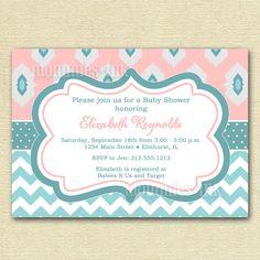 Light Pink and Aqua Ikat and Chevron Baby Shower Invitation - PRINTABLE INVITATION DESIGN. $12.00, via Etsy.
