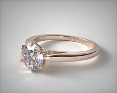 14K Rose Gold Petite Flower Solitaire Engagement Ring