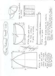 Esquema de modelagem de boina tradicional tamanho EGG.