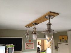 #Diy, #Kitchen, #Light, #PalletLamp, #RepurposedPallet I used a strip from the top of a pallet from work. Routed a channel along the upper part for the cables, and drilled three holes for the cables to connect to the light fittings. I purchased three fisherman's lights for this, which went with the