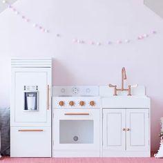 Kids Play Kitchen Set, Toddler Kitchen, Wooden Play Kitchen, Play Food Set, Play Kitchen Sets, Best Play Kitchen, Play Kitchens For Toddlers, Kids Play Corner, Kid Kitchen