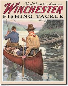 Winchester Fishing Tackle TIN SIGN canoe art hunt cabin metal wall decor ad 1008