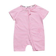 6287e5f2fb9 Fashion Striped Pink Baby Romper Baby Girl Clothes Baby Boys Rompers Summer  Newborn Jumpsuit With Zipper