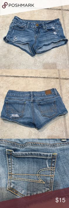 American Eagle Outfitters shorts American Eagle Outfitters shorts. Good condition, stretch, short, size 0. Rise flat approx. 6 1/2in. Inseam flat approx. 1 3/4in American Eagle Outfitters Shorts Jean Shorts