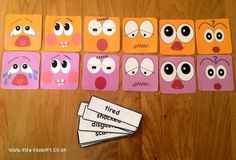 Halloween emotion face and cards - Item 77 - Elsa Support Emotions Activities, Pre K Activities, Colors And Emotions, Feelings And Emotions, Behavior Reflection, Vocabulary Flash Cards, Emotion Faces, Painting For Kids, Fine Motor
