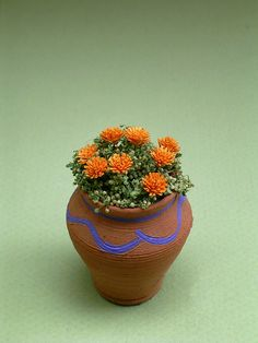 Marigold Flower Kit for 1/12th scale by TheMiniatureGarden