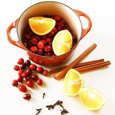 Holiday Stove Top Potpourri Mix    one whole orange or just the orange peel  1/2 cup cranberries  1 Tbsp. whole cloves  3 sticks of cinnamon or a small handful of small pieces of cinnamon  a bit of grated nutmeg if desired  Quarter the orange. Put all the ingredients into a saucepan. Fill pan with water. Place on the stove on the smallest burner, on the lowest setting. Refill water as needed.