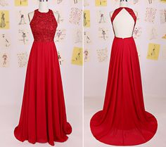 Red Chiffon Halter Open Back Prom Gown With Lace Appliques Bodice