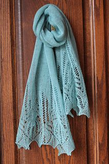 Machine knitted lace shawl pattern with hand manipulated stitches for the Passap Duo 80.