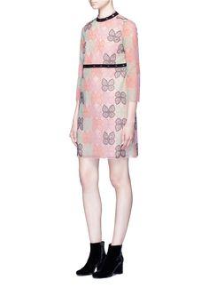 GIAMBA - Butterfly embroidered eyelet trim tulle dress | Multi-colour Mini Dresses | Women | Lane Crawford - Shop Designer Brands Online