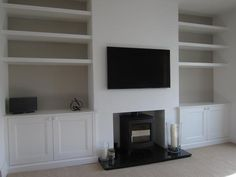 alcove cupboards london Source by blairshare I do not take credit for the images in this post. Alcove Storage Living Room, Living Room Cupboards, Built In Shelves Living Room, Alcove Shelving, Living Room Grey, Living Room Decor, Alcove Tv Unit, Alcove Bookshelves, Bedroom Shelves
