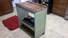 Shutters/Pallet Wood Kitchen Island/Microwave Cart Come see us at: http://besustainabletoday.wordpress.com/