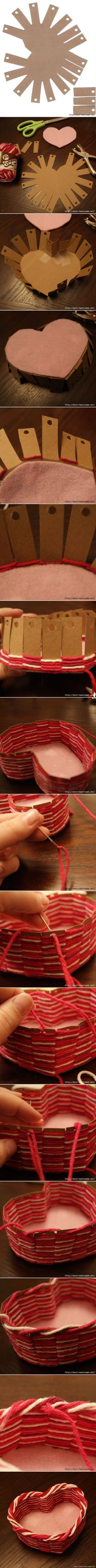 Yarn heart basket tutorial. Click on the link for the tutorial. http://fabricartdiy.com/2014/02/21/yarn-heart-basket-diy/