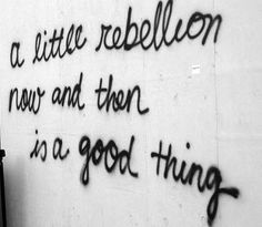 Dream Chasing A little rebellion now and then is a good thing.: A little rebellion now and then is a good thing. Rebel Quotes, All Quotes, Qoutes, Sweet Quotes, Nice Quotes, Movie Quotes, Inspirational Quotes, Black And White Photo Wall, Black And White Pictures