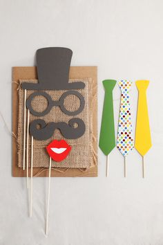 photo booth props, hat, glasses, mustache's, ties and button nose
