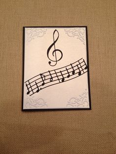 Easy clean and simple musical note card made using Memory Box dies: Virtuoso Music and Treble Clef; Cuttlebug embossing folder.