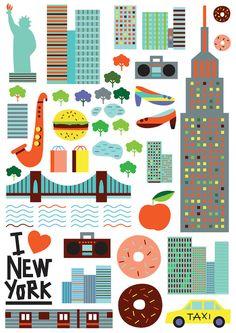 Ilustraciones vibrantes y coloridas de famosos iconos de ciudades y sus lugares de interés