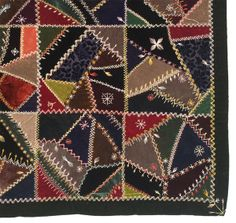 Silk Velvet Crazy Quilt with Deep Green Border  c.1885
