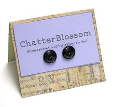 "Black Earring Buttons ""Black Diamond"" by ChatterBlossom on Etsy"