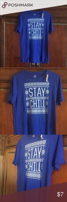 Brand New Old Navy Small Stay Chill T Shirt Adorable blue colored t short with the words stay chill on the front. Also have the matching men's t shirt for sale in my closet if you and your man ever want to match! This t shirt is a size small and fits true to size. Comes brand new with tags and is extra soft! Old navy shirt made in Vietnam Old Navy Tops Tees - Short Sleeve