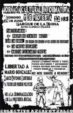 Azcapotzalco: Jornada Cultural, Informativa y de Protesta contra la criminalización de la lucha social, 29 de junio, Parque de la China, 12 hrs.