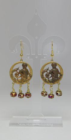 Poseidon Earrings Antique brass stamping earrings  by BridgetBlue