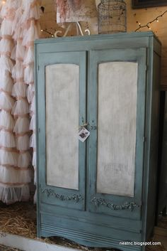 chalk painted armoire {duck egg and old white}