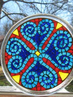 Mediterranean Mosaic Candle PlateTrivet by valleybeadglassart
