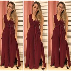 Poderoso mores! Macacão pantalona marsala! De parar a festa!!!!! 🌹💃🏼❤️❤️❤️ P e M! Incrível. Compre pelo 17 99662 7404 #macacaolongo… Fashion Sewing, Boho Fashion, Fashion Dresses, Western Formal Dresses, Mermaid Dresses, Prom Dresses, Trendy Outfits, Girl Outfits, Dress Neck Designs