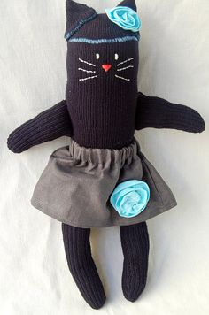 handsewn sock kitty by maker mama on etsy $25