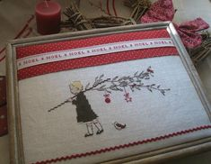 C'est parti ! Cross Stitching, Cross Stitch Embroidery, Cross Stitch Patterns, Cross Stitch Love, Cross Stitch Finishing, Stitches Wow, Primitive Stitchery, Christmas Embroidery, Xmas