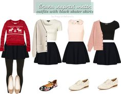 Ariana Grande Inspired Outfits | Ariana Grande inspired winter outfits with black skater skirts ...