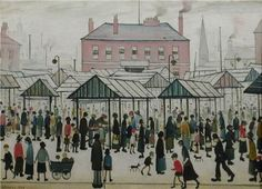 LS Lowry – Market Scene, Northern Town