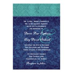 This DealsAqua and Navy Blue Damask Two Tone Wedding V326 V2 Invitationonline after you search a lot for where to buy