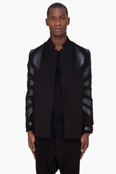 Visions of the Future: DENIS GAGNON Black Leather Trim Jacket