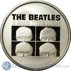 The Beatles A Hard Days Night 1 oz Silver Round A Hard Days Night, Gold And Silver Coins, Silver Rounds, The Beatles, Really Cool Stuff, Pure Products, Stars, Box, Snare Drum