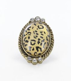 LARGE OVAL LEOPARD STRETCH RING