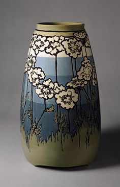"Saturday Evening Girls - Queen Anne's Lace Vase. Painted & Glazed Pottery. Decorated by Sara Galner (1894-1982). Circa 1915. 16"" x 9""."