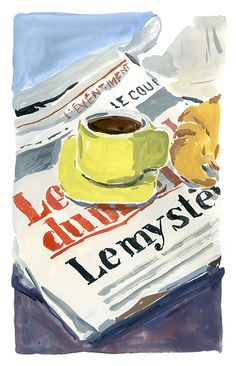 Gouache painting of cup of coffee and croissant sitting on French newspaper, by Jean-Philippe Delhomme. Art And Illustration, Illustrations Vintage, Illustrations Posters, Painting Inspiration, Art Inspo, Arte Sketchbook, Guache, Art Hoe, Painting & Drawing