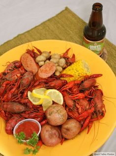 Crawfish from Savoie's in Shreveport, Louisiana with Abita Strawberry