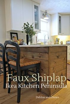 "When it came time to install the base cabinets making our IKEA kitchen peninsula, Diana had big plans.  She wanted two things; 1) Natural wood accents & 2) A feature that really states… ""this kitchen is ours!""  So, I was the labor and the faux-shiplap peninsula was the result. The Start I'm getting ahead of myself though.  […]"