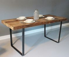 "Reclaimed wood table with 1/4"" x 4 steel legs (rectangular legs bolt to table underside) Build your own table and benches!"