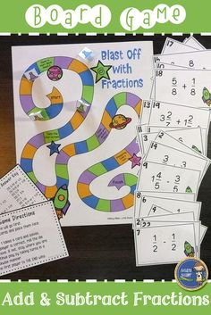 Your students will enjoy adding and subtracting fractions with this math game. Students will add and subtract fractions with common denominators (some mixed numbers are included). Click to find out more about this game and other fraction resources. $ gr 3-6