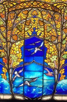 Art Nouveau Stained-Glass Windows St. Vitus Cathedral Prague Czech Republic