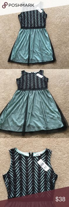 Black & Teal Dress Never worn junior dress in a size 13 from Macy's. Equal to a Women size : 6/10 Macy's Dresses